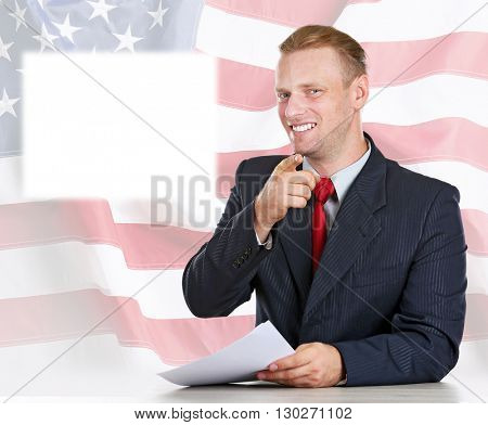 TV anchor preparing for telling news on USA National Flag background