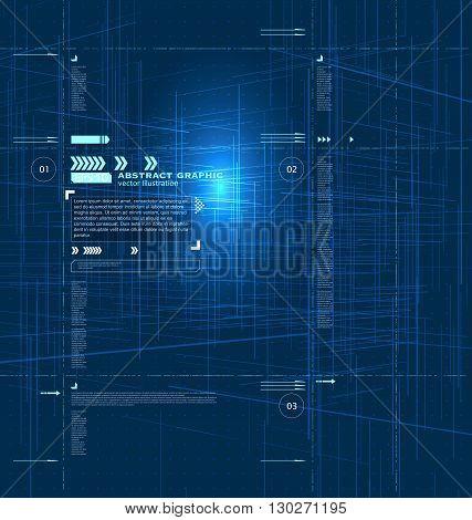 Virtual electronic streetAbstract illustration sense of technology.