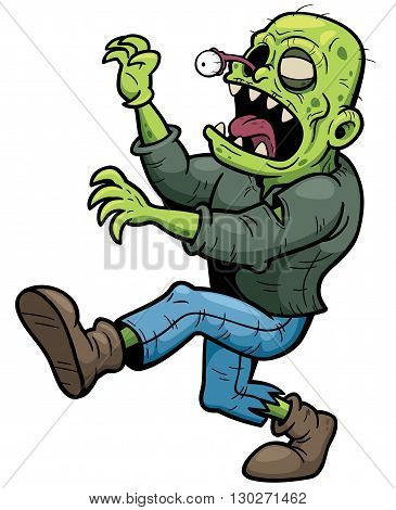 Vector illustration of Cartoon zombie walking character