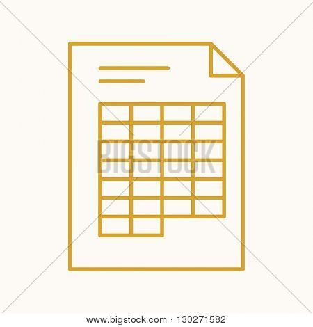 Document icon, vector web sign in thin lines. Spreadsheet icon flat. Design table icon, vector invoice pictogram.