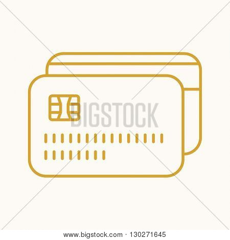Credit card icon, vector web sign in thin lines. Banking icon flat. Design digital money icon, vector pictogram.