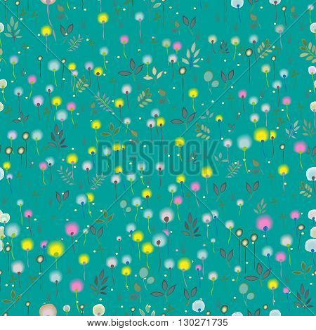Blossoming Field. Watercolor flowers. Vector Seamless Pattern