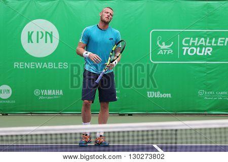 Bangkok Thailand - May 17 2016: Sam Groth is an Australian professional tennis player. KPN Renewables Bangkok Open 2016 at Rama Gardens Hotel.