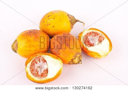 Betel nut is used in industrial textile dyes on white background isolated