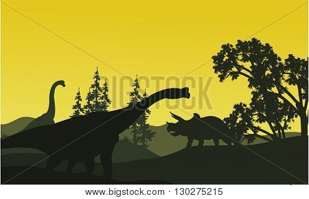 At moorning triceratops and brachiosaurus silhouette in fields scenery
