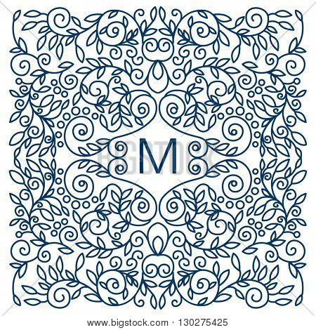 Floral vector frame with copy space for text in trendy mono line style. Monogram design element.
