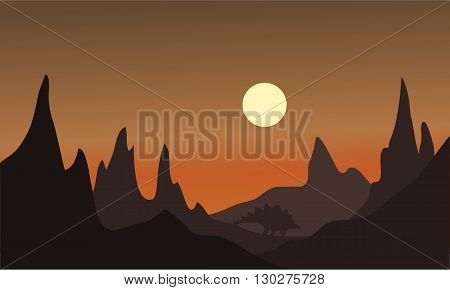 Silhouette of one ankylosaurus at afternoon with brown backgrounds