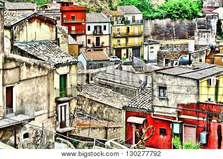 View to Historic Center City of Piazza Armerina in Sicily Vintage Style Toned Picture