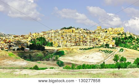View to the Medieval City of Pietraperria in Sicily Retro Image Filtered Style