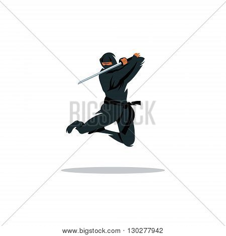 Warrior in black dress blade strikes in a jump Isolated on a White Background