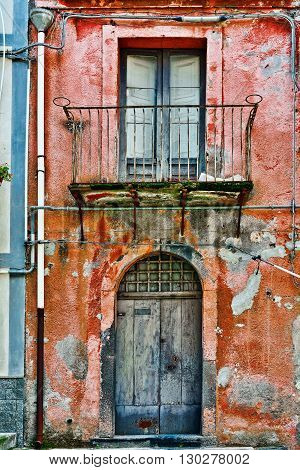 Facade of the Old House in Sicilian City of Piazza Armerina