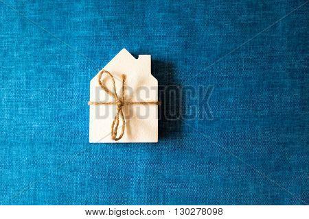 White House A Souvenir On A Blue Fabric Background