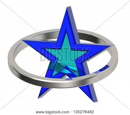Blue star in a silver circle. 3D illustration.