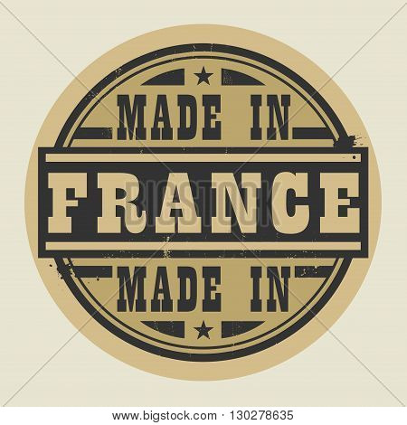 Abstract stamp or label with text Made in France, vector illustration