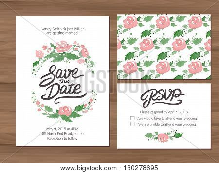 Wedding set with watercolor flowers and hand drawn lettering. Save the date invitation, RSVP card, seamless floral background. Seamless illustrator swatch for background included. Free font used - Afta sans.