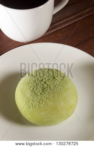 Traditional Japanese mochi with flavor of green tea