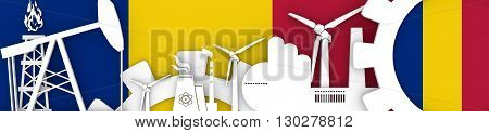 Energy and Power icons set. Header banner with Romania flag. Sustainable energy generation and heavy industry.3D rendering