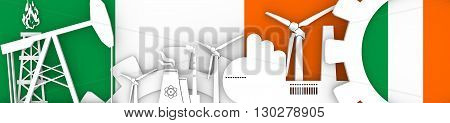 Energy and Power icons set. Header banner with Ireland flag. Sustainable energy generation and heavy industry.3D rendering