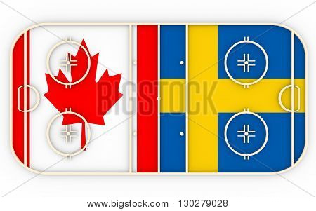 Canada vs Sweden. Ice hockey competition 2016. National flags on playground. 3D rendering