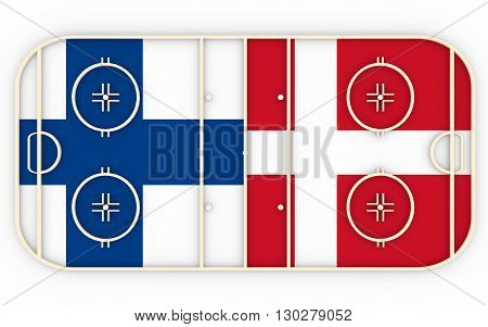 Finland vs Denmark. Ice hockey competition 2016. National flags on playground. 3D rendering