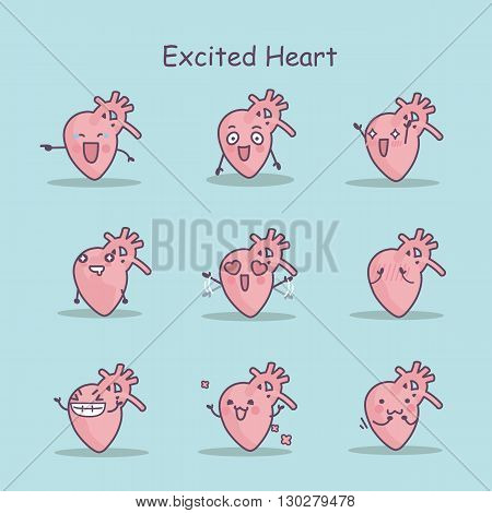Excited cartoon heart set great for your design