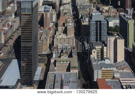 Johannesburg, South Africa 28 March 2016: The Johannesburg city skyline and the outlaying suburbs