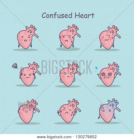 Confused cartoon Heart set great for your design