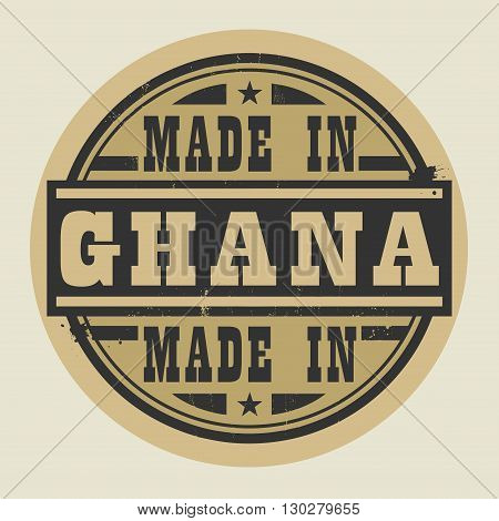 Abstract stamp or label with text Made in Ghana, vector illustration