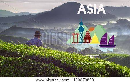 Asia East Continent Informative Culture Graphic Concept