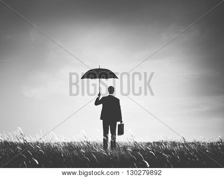 Business Person Stay Under Umbrella Concept