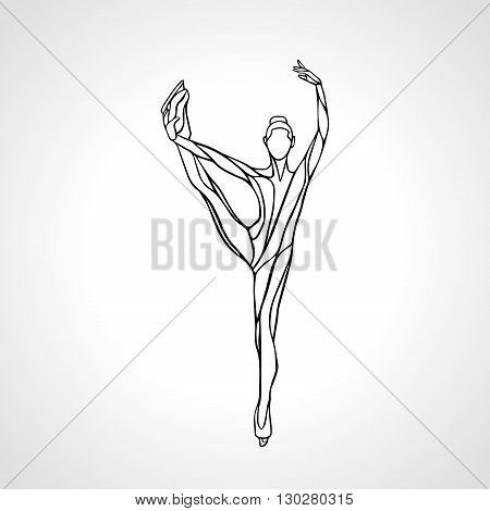 Winter sport. Ladies figure skating silhouette.  Ice show. Vector illustration