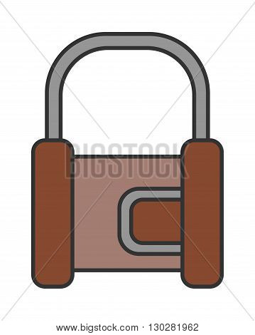 Padlock. Flat color icon of lock isolated on white background. Object of safety, protection. Vector illustration