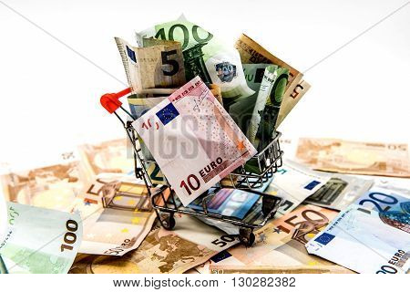 Money Euro currency for shopping,  isolated white background