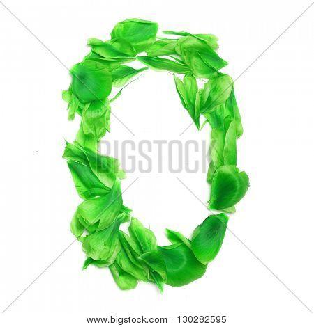 Green petals digits. Digit 0