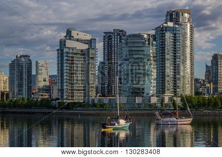 Vancouver, Canada - May 14, 2016. False Creek and Science World at TELUS World of Science