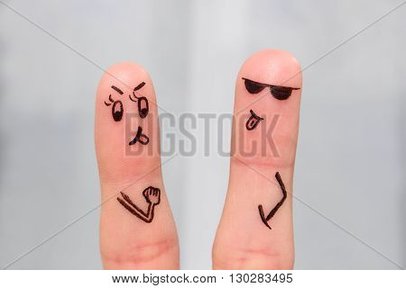 Finger art of couple. Couple of swears, shows the languages to each other.