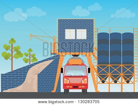 Industrial Cement Processing Plant factory with work machines and a truck mixer vector illustration.