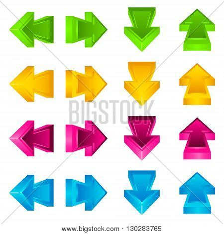 Set of arrow stickers colored on a white background