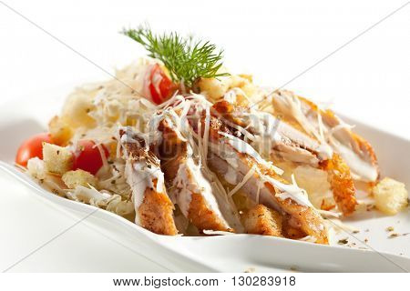 Caesar Salad with Sliced Chicken Fillet and Parmesan Cheese