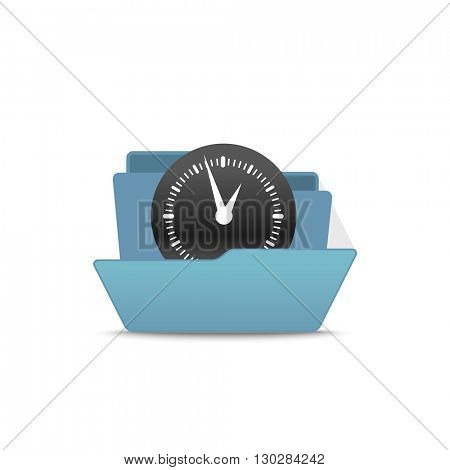 Computer interface folder vector illustration. Open folder isolated on white. Find 