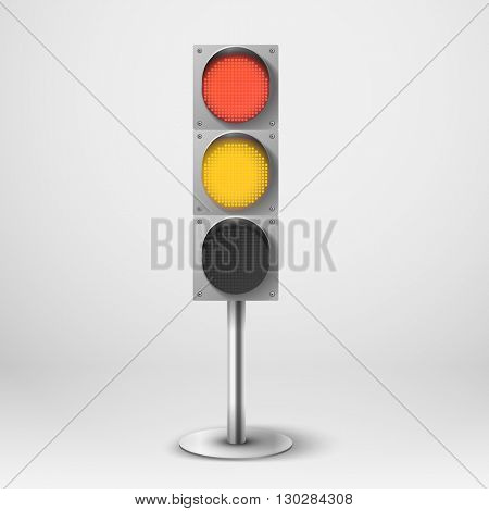 Traffic light vector illustration. Red and yellow diod traffic light. Template for design