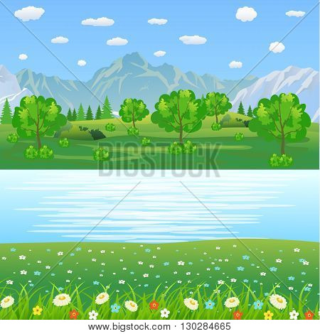 Summer landscape with meadows and mountains. Spring landscape. River and the forest, nature landscape, vector background. vector illustration in flat design