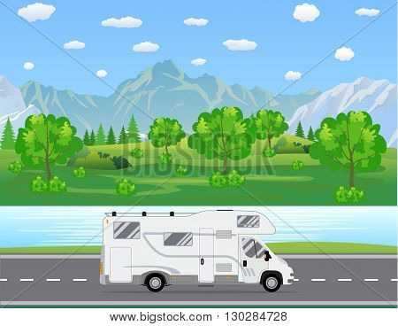 Family traveler truck driving on the road. Outdoor journey camping traveling vacation concept poster card. RV caravan motorhome van on countryside background landscape. Flat vector illustration.