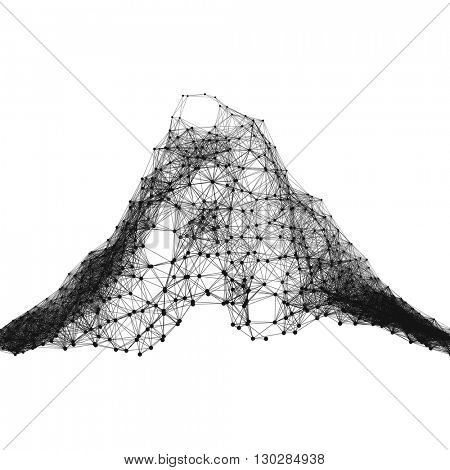 Geometric Mountain Landscape. Mountainous Terrain. Network Background. Connection Structure. Wireframe Polygonal Vector Illustration. 3D Technology Style. Cobweb Or Spider Web.