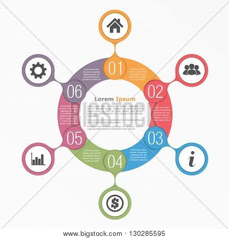 Circle diagram with six elements with icons and text, flow chart template, business infographics, vector eps10 illustration