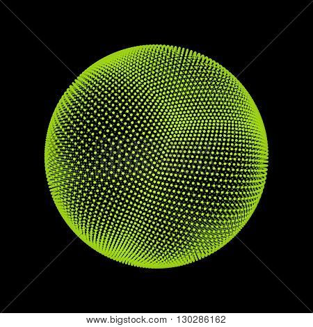 The Sphere Consisting of Points. Abstract Globe Grid. Sphere Illustration. 3D Grid Design. 3D Technology Style.