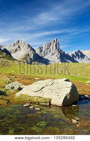 Aiguilles du Ansabere in Lescun Cirque. Aspe Valley, Pyrenees, France.