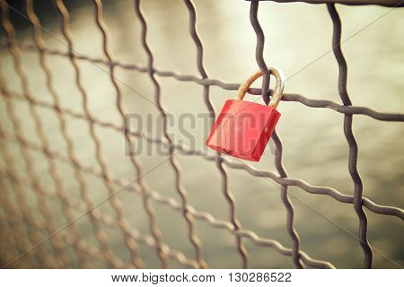 Love padlock on the railing of a bridge, Berlin, Germany.