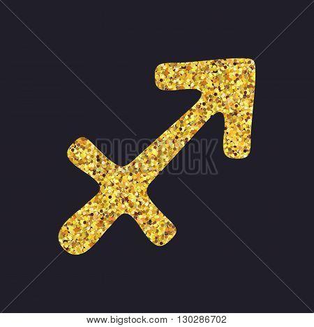 Golden Shiny Symbol Sagittarius