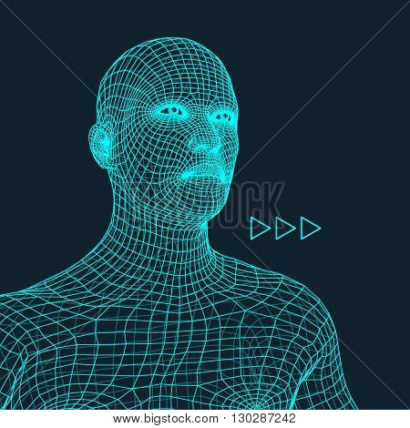 Head of the Person from a 3d Grid. Human Head Wire Model. Human Polygon Head. Face Scanning.